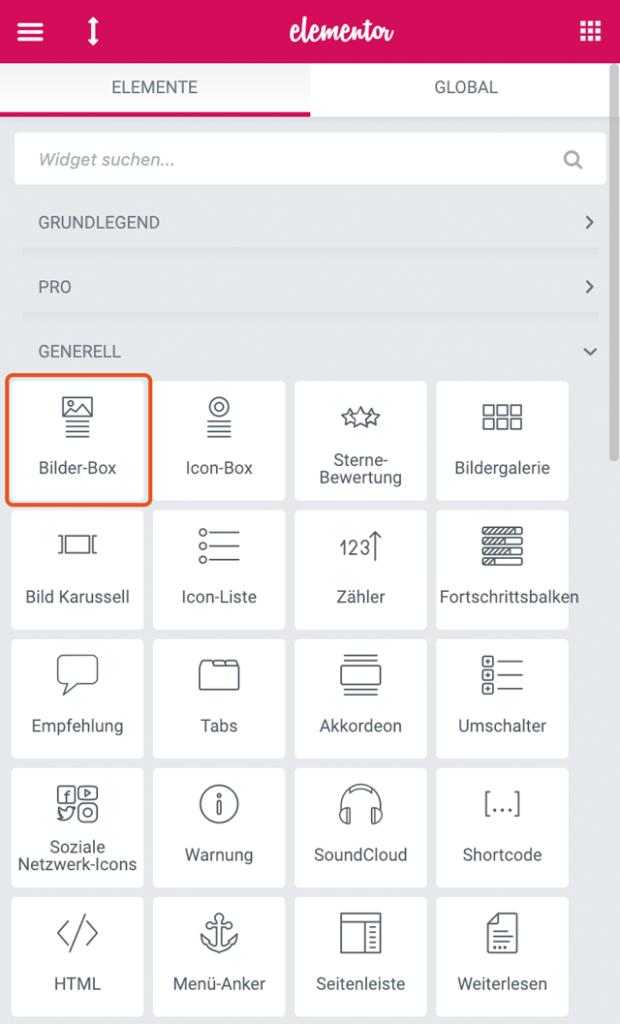 Screenshot Generelle Elemente Bilder Box Vogelmann Consulting - Internetagentur aus Gilching nähe München