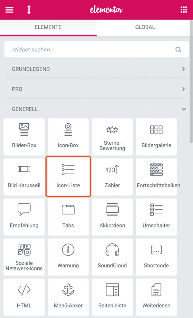 Screenshot Generelle Elemente Icon Liste Vogelmann Consulting - Internetagentur aus Gilching nähe München