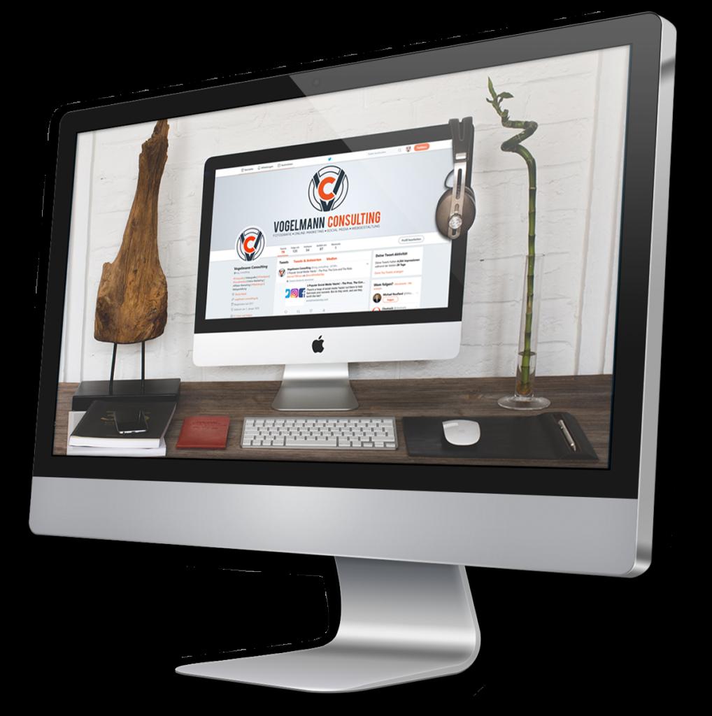 iMac Bildschirm SocialMedia Vogelmann Consulting - Internetagentur aus Gilching nähe München
